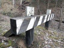 Barreira sem saída e listrada entre a floresta selvagem Foto de Stock