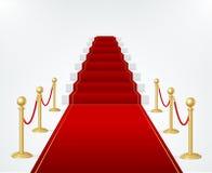 Barreira vermelha da corda do tapete, da escada e do ouro do evento Vetor ilustração royalty free