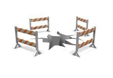 Barreiras de advertência da construção Fotografia de Stock Royalty Free