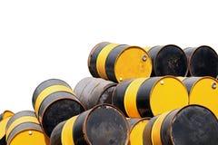 Barrel масло, старая куча металла масла бочонка, цвет масла бочонка желтый и черный Стоковое Изображение