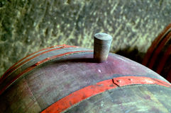 Barrel. Big wine barrel with cork Stock Photo