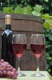 Barrel. Glasses of wine on a wine barrel royalty free stock images