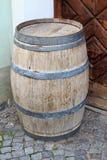 Barrel. A vintage barrel in the corrner of a building Stock Image