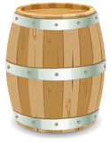 Barrel. Illustration of a cartoon wooden wine barrel with iron strapping and nails for grape harvesting Stock Images