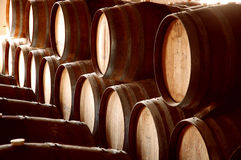 Barrel Abstract IV. Abstract shot pf rows of wine barrels in cellar Royalty Free Stock Photography