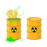 Barrel of acid. Vector illustration open drums with dangerous gr vector illustration