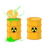 Barrel of acid. Vector illustration open drums with dangerous gr Stock Image