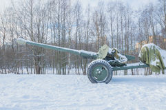 Barrel anti-tank gun looking at the sky. In the sky stared down barrel of artillery Royalty Free Stock Image