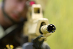 Barrel of automatic rifle Stock Photography