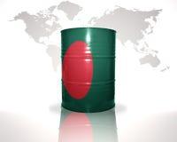 barrel avec le drapeau bangladais sur la carte du monde Photo stock
