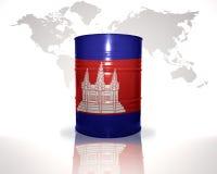 Barrel avec le drapeau cambodgien sur la carte du monde Photographie stock libre de droits