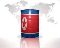 barrel avec le drapeau de la Corée du Nord sur la carte du monde Photo stock