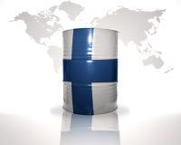 barrel avec le drapeau finlandais sur la carte du monde Photo stock
