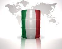 barrel avec le drapeau italien sur la carte du monde Image stock