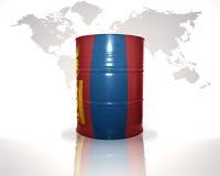 barrel avec le drapeau mongol sur la carte du monde Image libre de droits