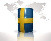 barrel avec le drapeau suédois sur la carte du monde Photos stock