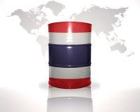 Barrel avec le drapeau thaïlandais sur la carte du monde Photo libre de droits
