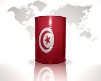 Barrel avec le drapeau tunisien sur la carte du monde Photographie stock libre de droits