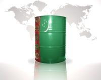 Barrel avec le drapeau turkmène sur la carte du monde Photographie stock