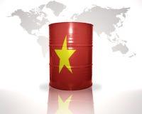 Barrel avec le drapeau vietnamien sur la carte du monde Photographie stock