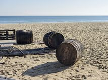 Barrel on the beach royalty free stock photography