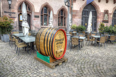 Barrel of beer. Advertising restaurant in Frankfurt am Main Royalty Free Stock Images