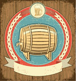 Barrel of beer label set Stock Photos
