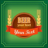 Barrel of beer logo with banner. For bars and restaurants with the words and wheat on green background vector illustration