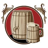 A barrel of beer and a mug in a circle with. A vegetal pattern stock illustration