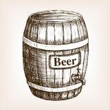 Barrel of beer sketch style vector. Illustration. Old engraving imitation. Hand drawn sketch imitation stock illustration