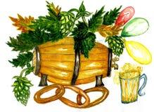 Barrel of Beer. Vintage wooden barrel of beer painted in watercolor stock illustration