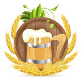 Barrel of Beer and Wooden Mug Royalty Free Stock Images