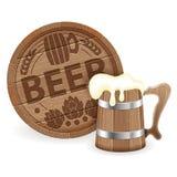 Barrel of Beer and Wooden Mug. Oktoberfest Poster with Barrel of Beer and Wooden Mug, vector on white background stock illustration