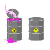 Barrel with Biohazard. Grey barrel with pink radioactive liquid. Stock Photo