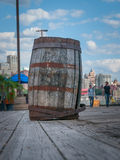 Barrel. On the boardwalk in NYC Stock Photo