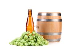 Barrel and bottle of beer with hop. Stock Photos