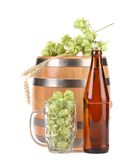 Barrel and bottle of beer with hop. Stock Images