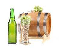 Barrel and bottle of beer with hop. Stock Photography