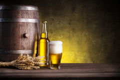 Barrel, bottle and glass of beer Stock Image