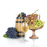 Barrel, bottles and glass of wine  on white Stock Image