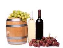 Barrel and bottles of wine Royalty Free Stock Images