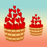Barrel bucket pail tub wood with hearts Royalty Free Stock Photo