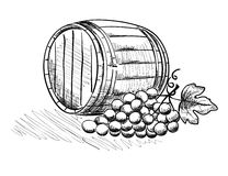 Barrel and a bunch of grapes. Graphic illustration with grapes and wine barrel stock illustration