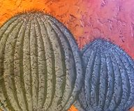 Cactus, wall decor. Barrel Cactus painted on a colorful wall royalty free stock image