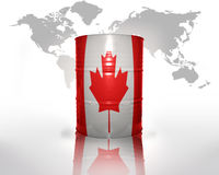 Barrel with canadian flag Stock Image