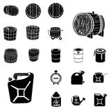 Barrel and canister black icons. Vector illustration of barrel and canister black icons for different purposes royalty free illustration