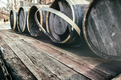 Barrel Casks Outdoor Winter Royalty Free Stock Photo