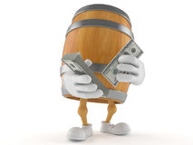 Barrel character with money Royalty Free Stock Images