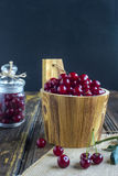 Barrel with cherries Royalty Free Stock Images