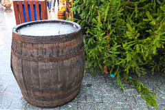 Barrel on a Christmas market Royalty Free Stock Image